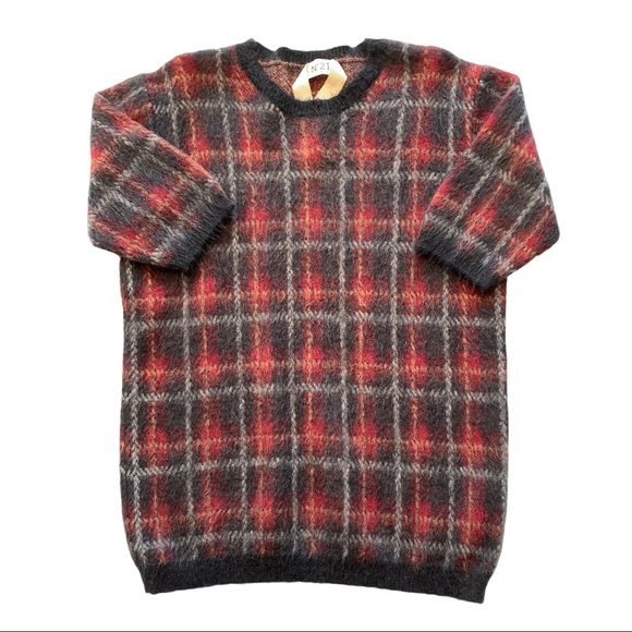 No 21 Plaid Sweater Virgin Mohair Pullover